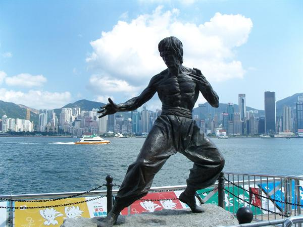 Metal sculptures such as Bruce Lee in Avenue of Stars in Hong Kong.